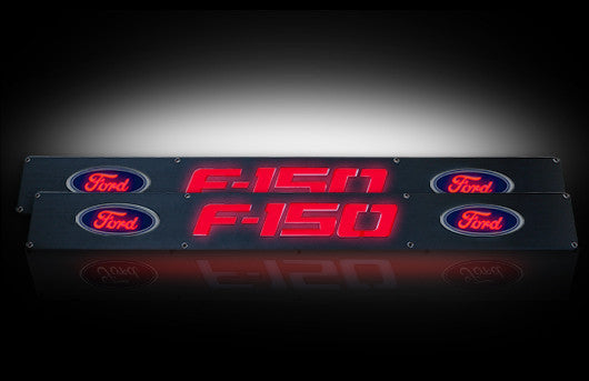 (09-14 F-150) RECON Red LED Illuminated Black Anodized Front Door Sill