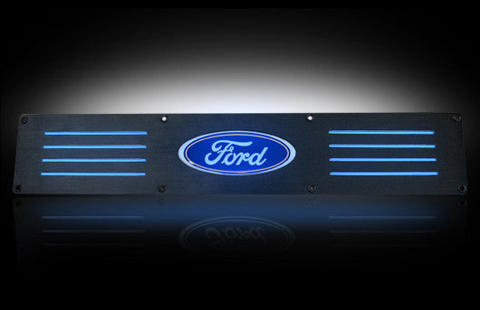 (09-14 F-150 / Raptor) RECON Blue LED Illuminated Black Anodized Rear Door Sill
