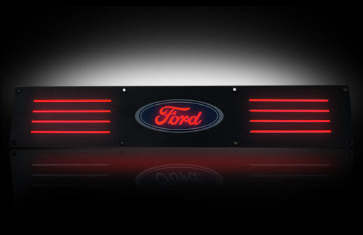 (09-14 F-150 / Raptor) RECON Red LED Illuminated Black Anodized Rear Door Sill