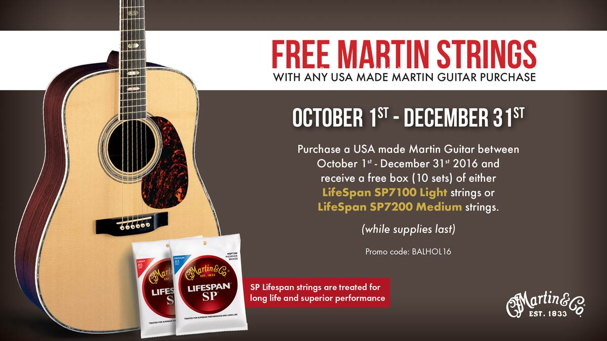 USA Martin Guitars Free String Promotion