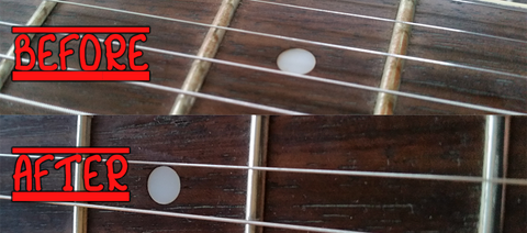 Before and After Cleaning Your Frets