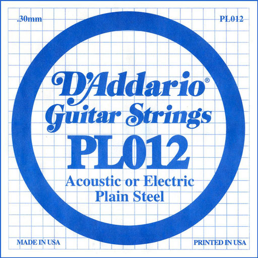 DAddario PL012 Plain Steel Guitar Single String - Bananas At Large®