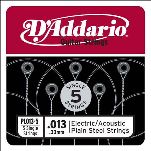 DAddario PL013-5 Single 5-Pack Single Plain Steel 013 - Bananas At Large®
