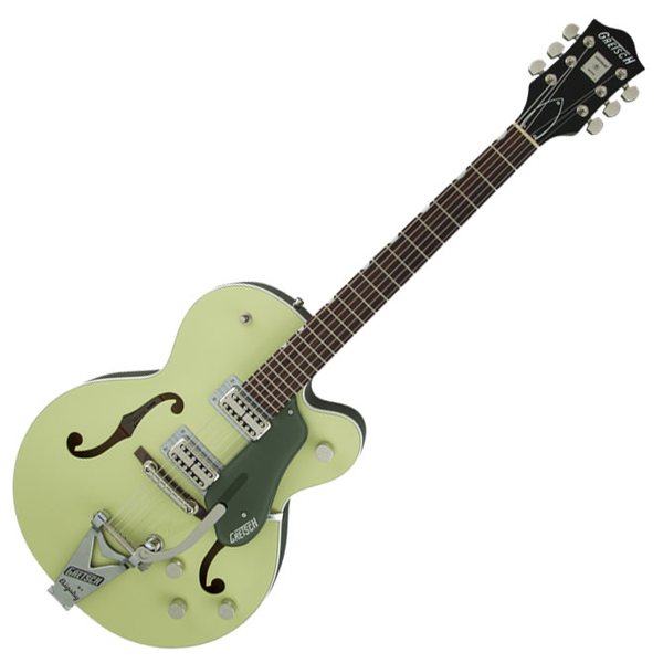 Gretsch G6118T-SGR Players Edition Anniversary With String-Thru Bigsby and FilterTron Pickups - 2 Tone Smoke Green - Bananas at Large - 1