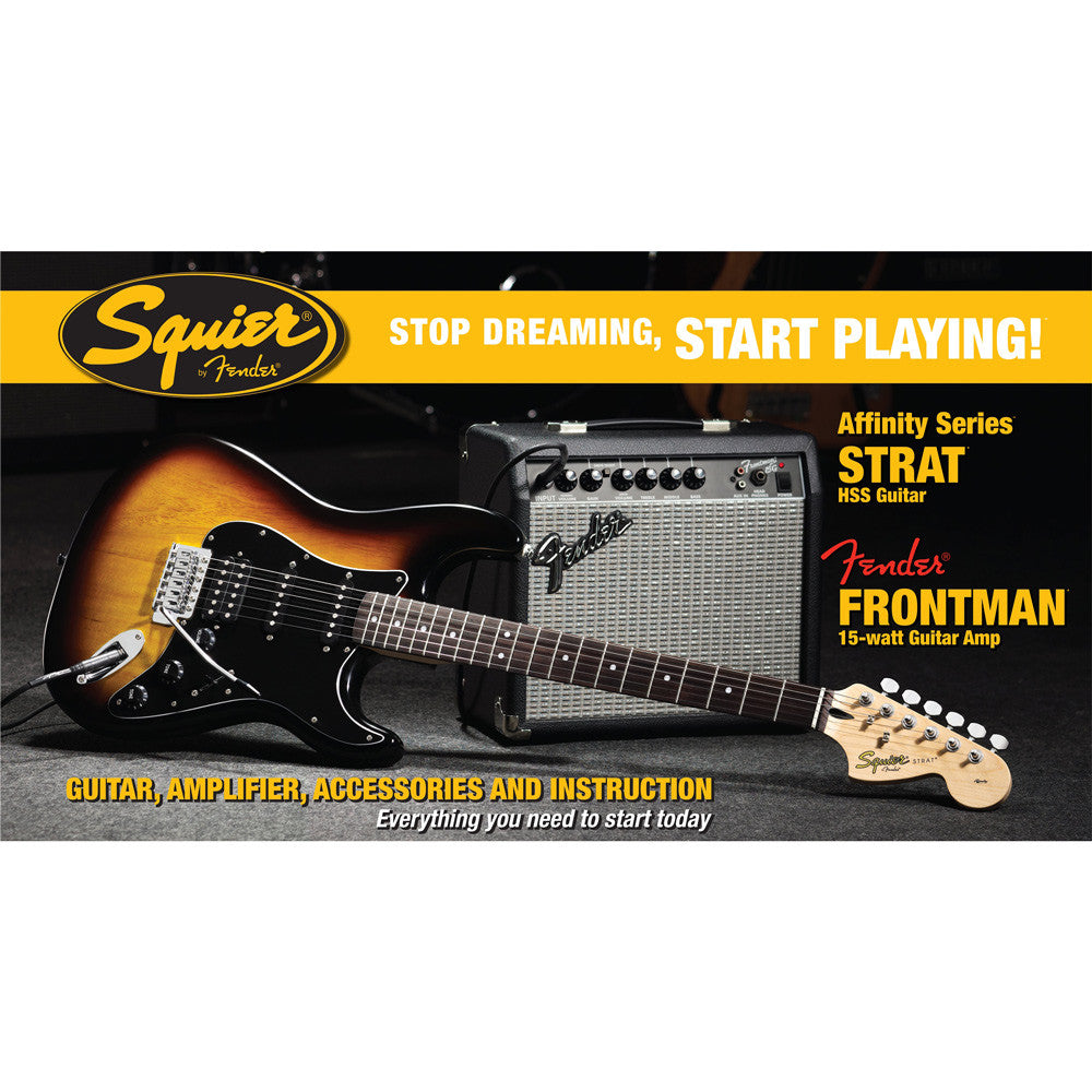 Squier Stop Dreaming, Start Playing! Set: Affinity Series Strat HSS with Fender Frontman 15G Amp, Brown Sunburst, 120V - Bananas at Large - 2