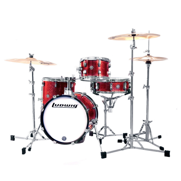 Ludwig LC179X025 Breakbeats by Questlove Compact 4 Piece Drum Shell Kit - Wine Red Sparkle - Bananas at Large