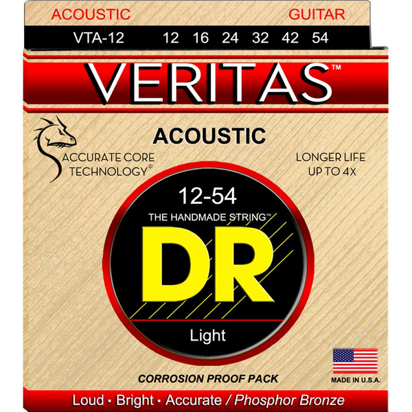 DR Strings VTA-12 Veritas Phosphor Bronze Acoustic Guitar Strings Wound on Hexagonal Cores - Bananas At Large®
