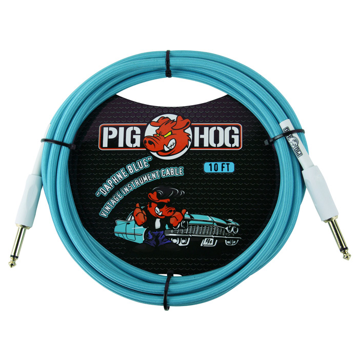Pig Hog PCH10DB Daphne Blue Instrument Cable, 10ft - Bananas at Large