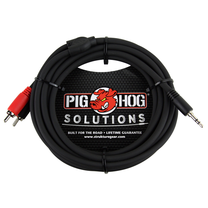 Pig Hog PB-S3R10 Solutions 10ft Stereo Breakout Cable, 3.5mm to Dual RCA - Bananas at Large