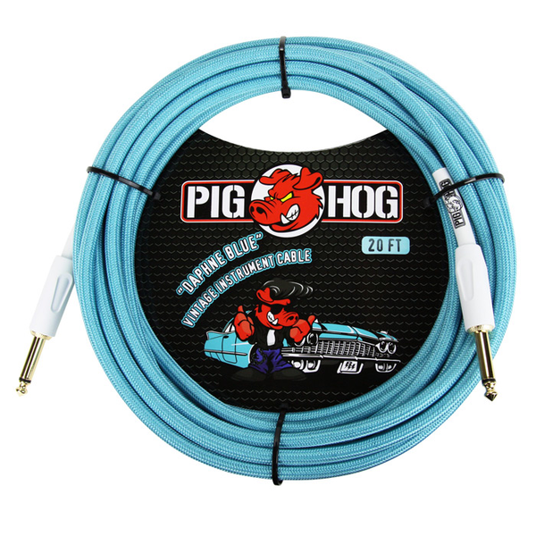 Pig Hog PCH20DB Vintage Series Instrument 20ft Cable - Daphne Blue - Bananas at Large