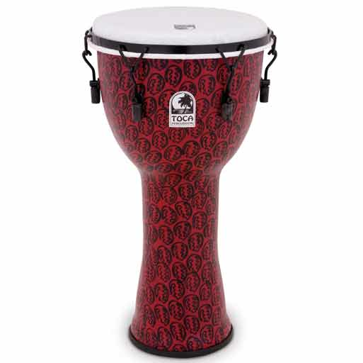 Toca TF2DM-12RM Freestyle II Mechanically Tuned 12 in. Djembe - Red Mask - Bananas at Large