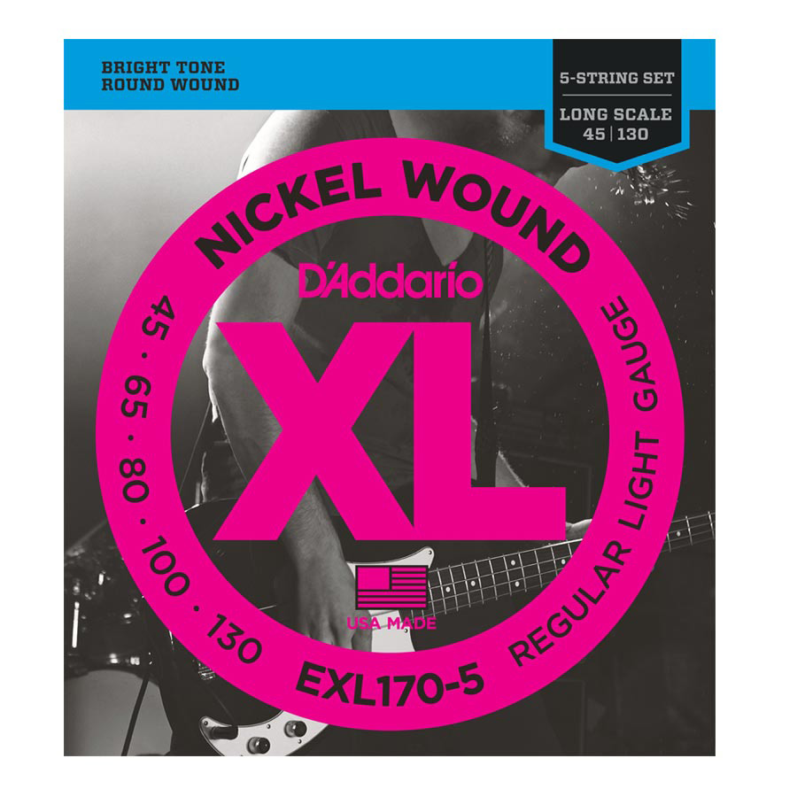 D'Addario EXL170-5 Light Nickel Wound Long Scale 5-String Bass Gauge 45-130 - Bananas At Large®