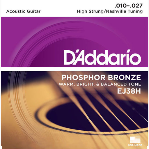 DAddario EJ38H Phosphor Bronze Acoustic Strings - High Strung Nashville Tuning 10-27 - Bananas At Large®