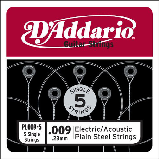 Daddario PL009-5 Single 5-Pack Single Plain Steel 009 - Bananas At Large®