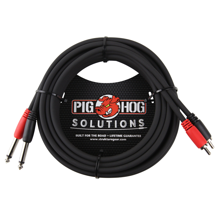Pig Hog PD-R1415 Solutions 15ft RCA - 1/4 in. Dual Cable - Bananas at Large