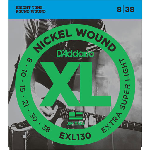 DAddario EXL130 Electric Nickel Wound Guitar Strings Extra-Super Light 8-38 - Bananas At Large®