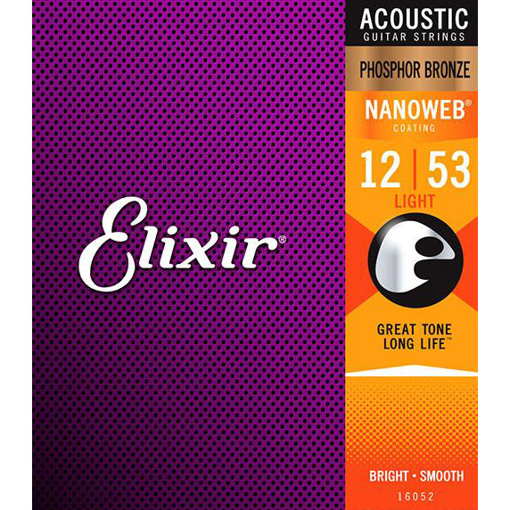 Elixir Phosphor Bronze Light Acoustic Guitar Strings with Nanoweb Coating .012-.053