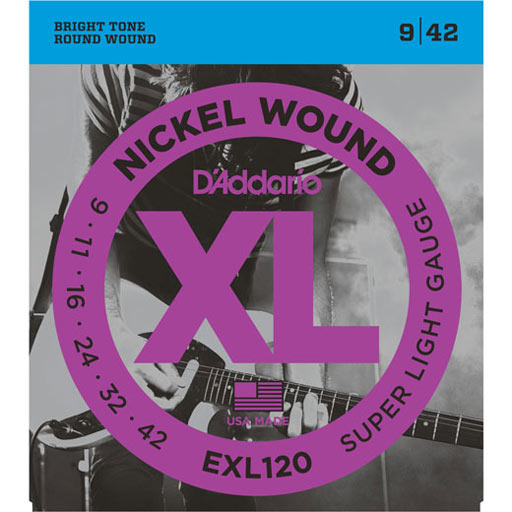 DAddario EXL120 Nickel Wound Electric Guitar Strings Super Light 9-42 - Bananas At Large®