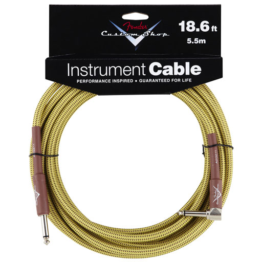 Fender Custom Shop Performance Series Cable, Straight to Right 18.6ft, Tweed - Bananas At Large®
