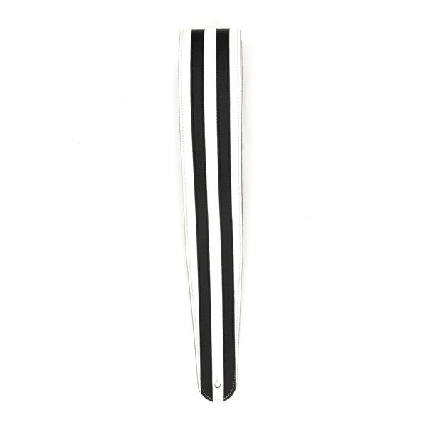 D'Addario Deluxe Leather Guitar Strap - White with Black Racing Stripes