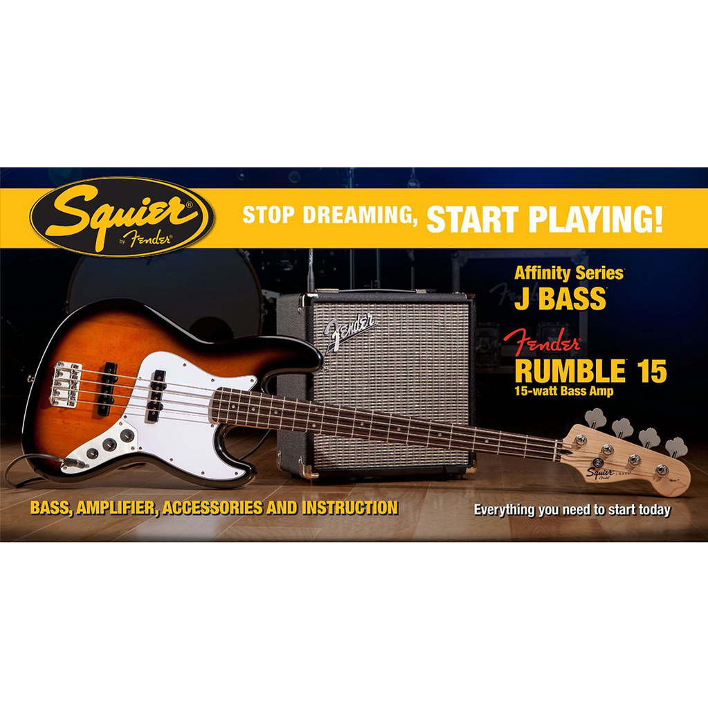 Squier Affinity Series Jazz Bass with Fender Rumble 15 Watt Amp Pack - Brown Sunburst - Bananas at Large - 1