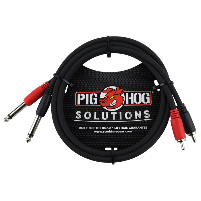 Pig Hog PD-R1403 Solutions 3ft RCA-1/4 in. Dual Cable - Bananas at Large