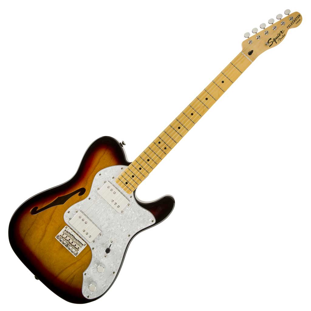 Squier Vintage Modified '72 Tele Thinline with Maple Fingerboard - 3 Color Sunburst - Bananas at Large