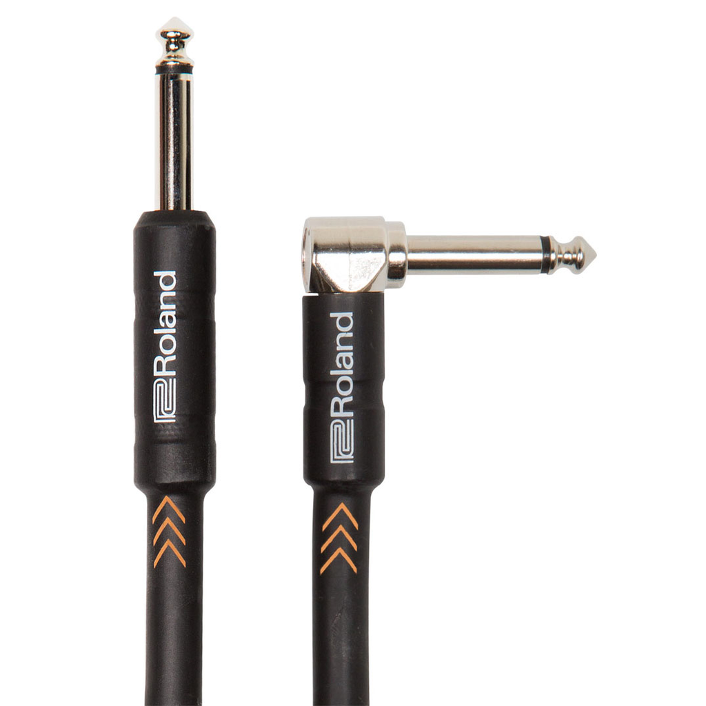 Roland RIC-B20A Black Series 20ft Instrument Cable Straight to Angle Connectors - Bananas at Large
