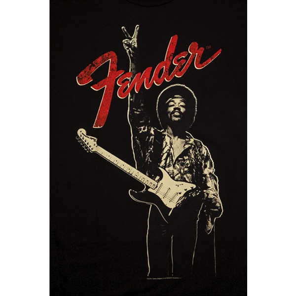Fender Jimi Hendrix, Peace Sign T-Shirt, Black, S - Bananas At Large®