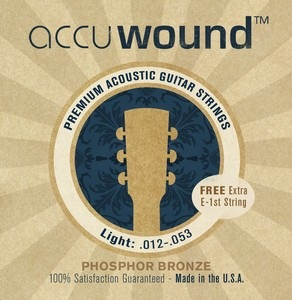Accuwound USA Acoustic Phosphor Bronze Set with Free High E String Light 12-52 - Bananas At Large®