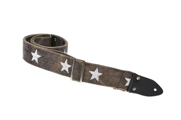 Henry Heller HCOTRV 2 in. Heavy Cotton Distressed Guitar Strap - Black with Stars - Bananas At Large®