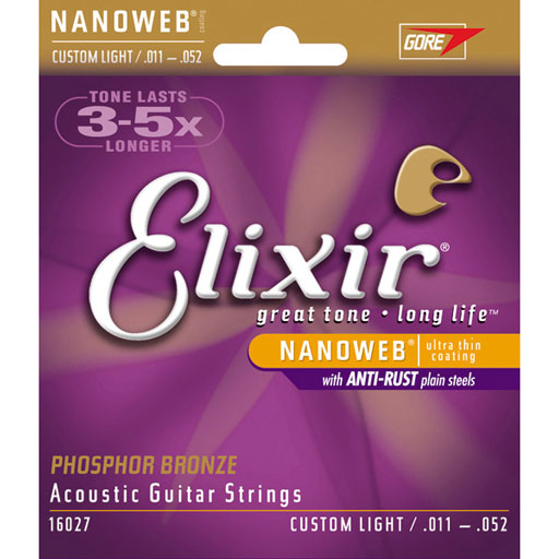 Elixir 16027 Acoustic Phosphor Bronze With Nanoweb Coating - Custom Light - Bananas At Large®