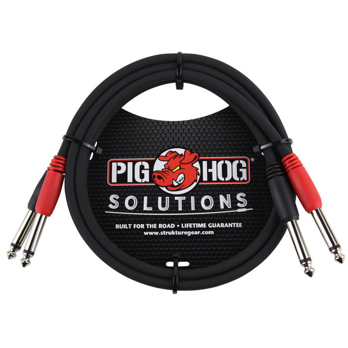 Pig Hog PD-21403 Solutions 3ft 1/4 in. -1/4 in. Dual Cable - Bananas at Large