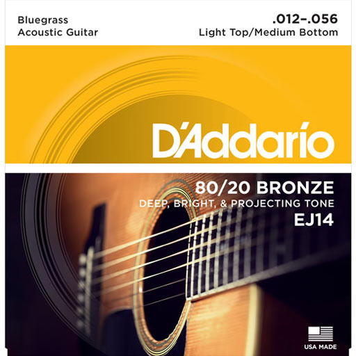 D'Addario EJ14 80/20 Bronze Acoustic Guitar Strings Bluegrass (Light Top/Medium Bottom, 12-56) - Bananas At Large®