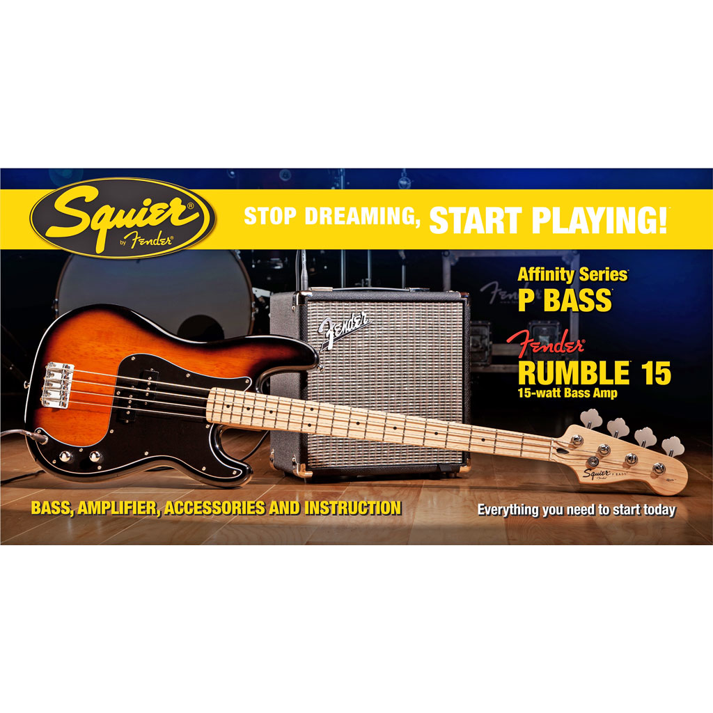 Squier Stop Dreaming Start Playing! Set: Affinity Series Precision Bass with Fender Rumble 15 Amp - Bananas at Large - 2