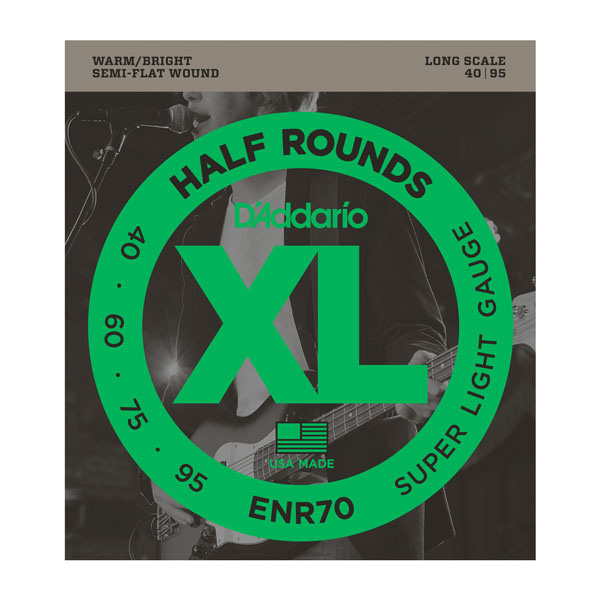 D'Addario ENR70 Half Rounds Bass Super Light Strings Gauges 40-95 Long Scale - Bananas At Large®