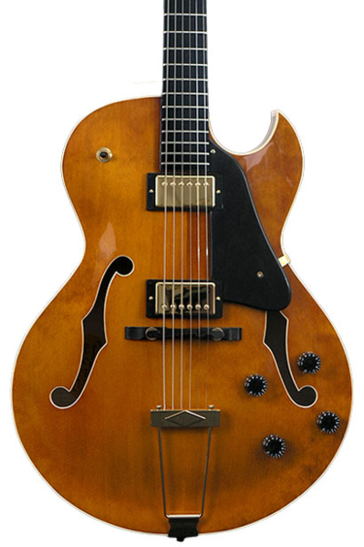 Heritage Scratch and Dent Mimi Fox Hollow Body Custom Carved Guitar with Case - Amber Translucent