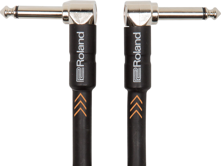 Roland RIC-B1AA Black Series 1ft Instrument Cable with Dual Right Angle 1/4 in. Connectors - Bananas at Large
