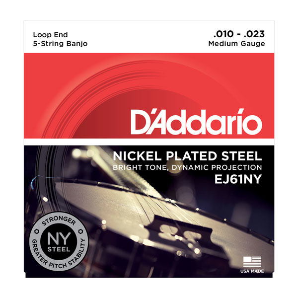 D'Addario EJ61NY 5-String Medium Nickel Banjo Strings 10-23 - Bananas At Large®