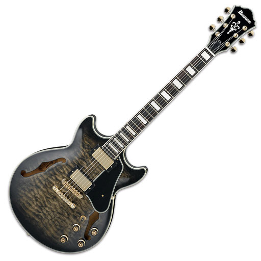 Ibanez AM93 Artcore Expressionist Semi Hollow Guitar - Transparent Black Sunburst - Bananas at Large - 1