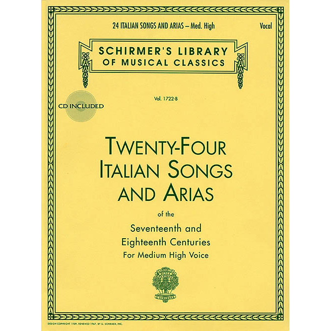 Hal Leonard 24 Italian Songs and Arias - Medium High Voice (Book/CD) - Bananas at Large