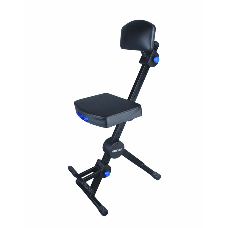 Quik Lok DX-749 Deluxe Height adjustable musicians stool with adjustable footrest and backrest. - Bananas at Large