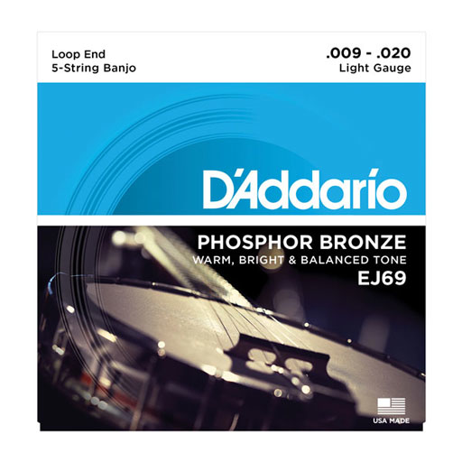 D'Addario EJ69 5-String Banjo, Phosphor Bronze, Light, 9-20 - Bananas At Large®