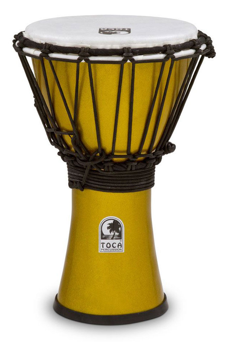 Toca TFCDJ-7MY Freestyle Colorsound 7 in. Djembe - Metallic Yellow - Bananas at Large