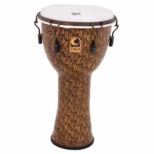 Toca TF2DM-14GMB 14 In. Freestyle II Mechanically Tuned Djembe with Bag Extended Rim Gold Mask - Bananas at Large