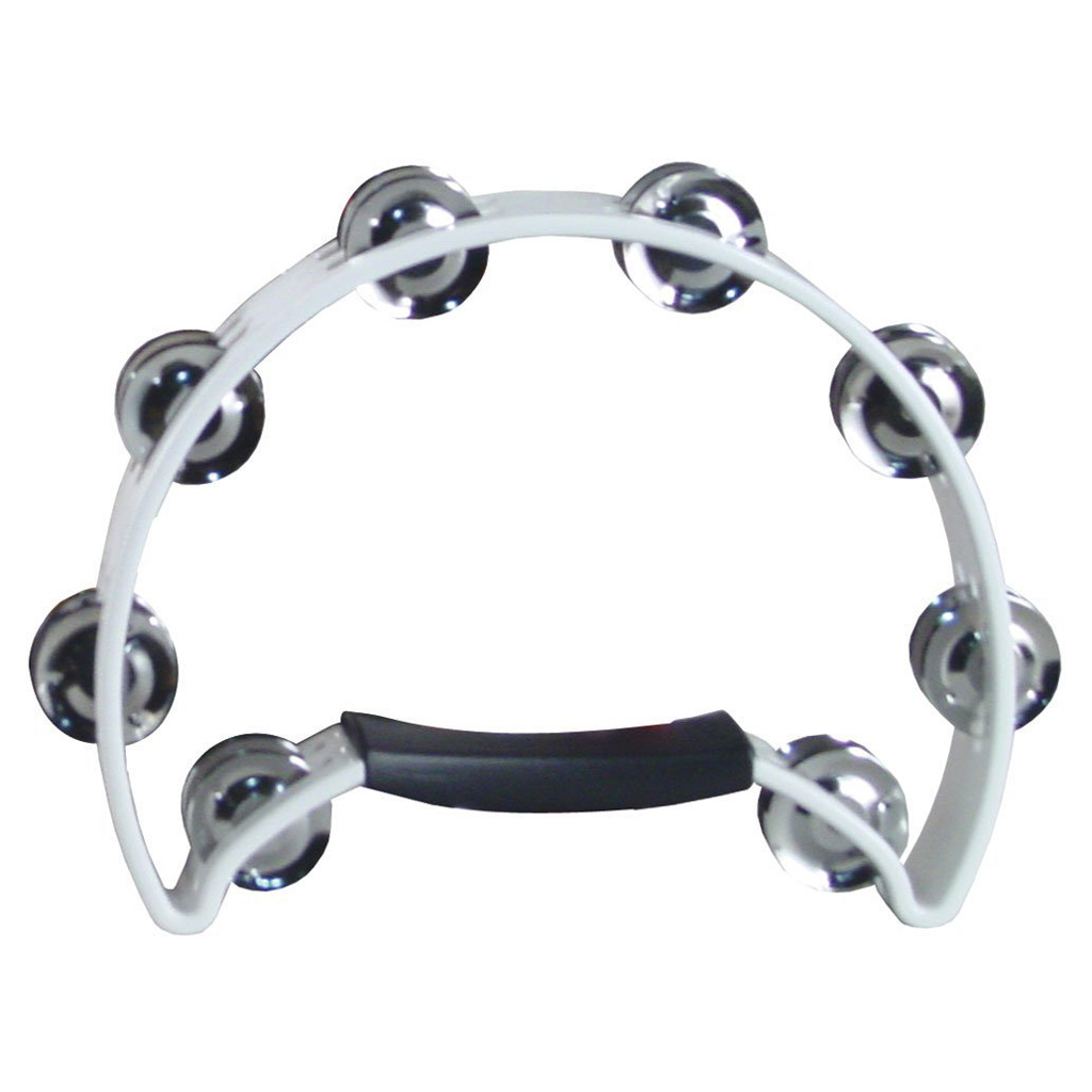 Coda DP-140 Double Row Tambourine with Ergonomic Handle - White - Bananas At Large®
