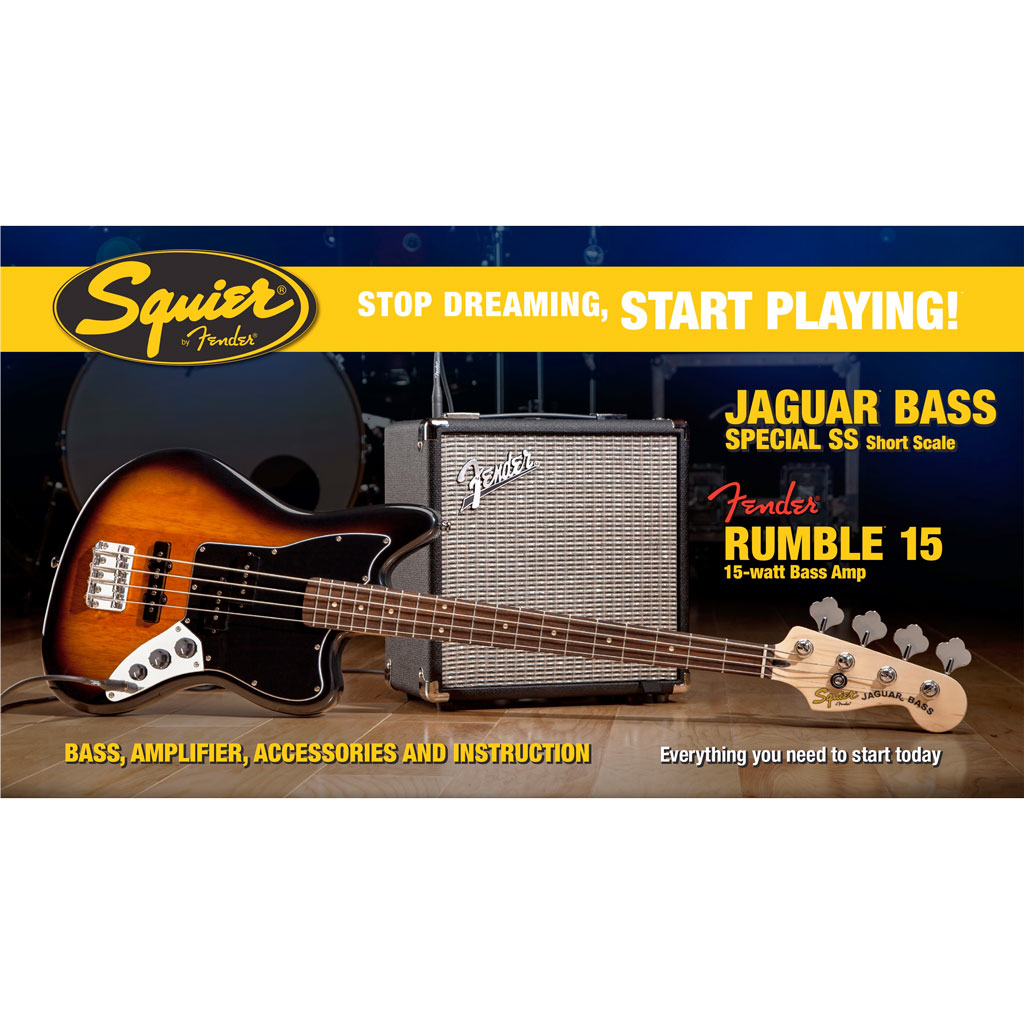 Squier Stop Dreaming Start Playing! Set: Jaguar Bass Special SS with Fender Rumble 15 Amp - Bananas at Large - 2