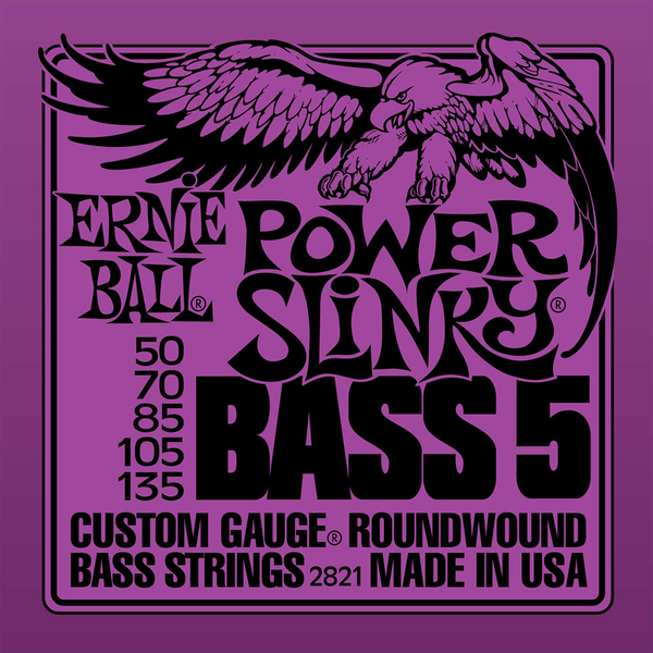 Ernie Ball P02821 Power Slinky 5-String Bass Nickel Wound Set - Bananas At Large®