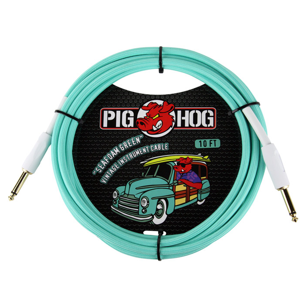 Pig Hog PCH10SG Seafoam Green 10ft Instrument Cable - Bananas at Large