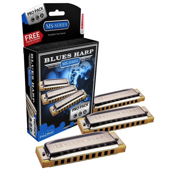 Hohner 3P532BX Blues Harp Harmonica, Pro Pack, Keys of C, G, and A Major - Bananas At Large®